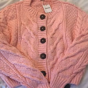 Free People Knit Button-Down Sweater